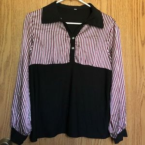 Tops - Striped Blouse Long Sleeve T-shirt Top EUC